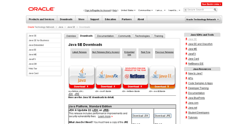 Java SE Downloads - Sun Developer Network (SDN)